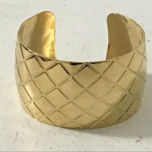 Jewelry - Contemporary Gold Tone Diamond Quilt Cuff